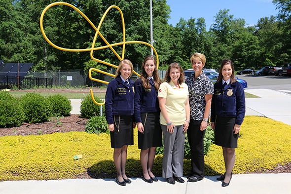 National FFA officers pose at Bayer Bee Care Center